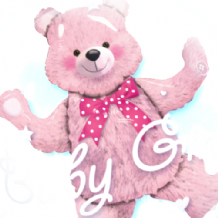"Baby Pink Bear Double Bubble Balloon (24"") 1pc"